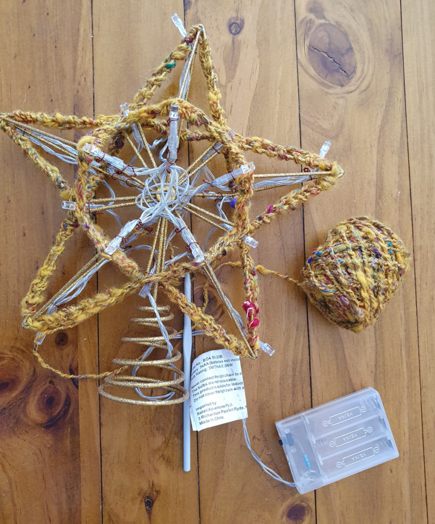star with yarn outlining